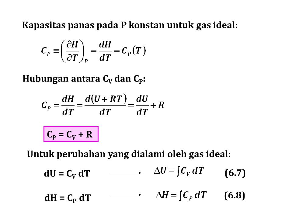Kapasitas panas pada P konstan untuk gas ideal: