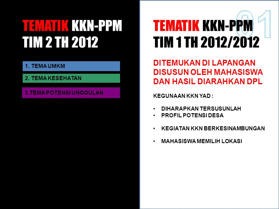 01 TEMATIK KKN-PPM TIM 2 TH 2012 TEMATIK KKN-PPM TIM 1 TH 2012/2012