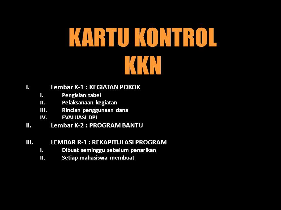 KARTU KONTROL KKN Lembar K-1 : KEGIATAN POKOK