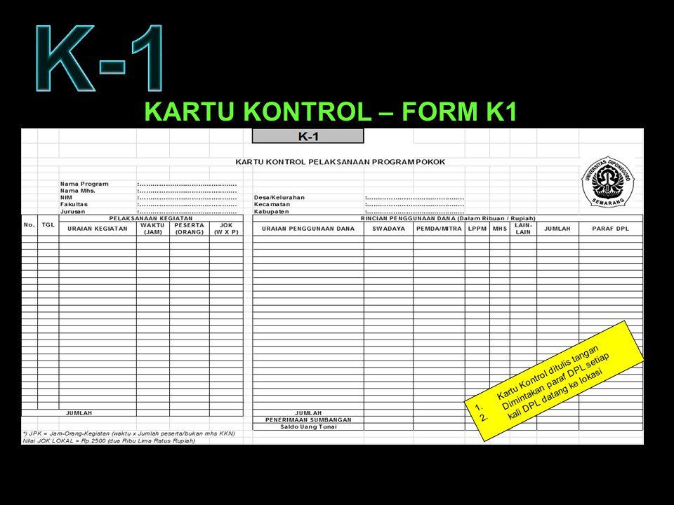K-1 KARTU KONTROL – FORM K1 Kartu Kontrol ditulis tangan