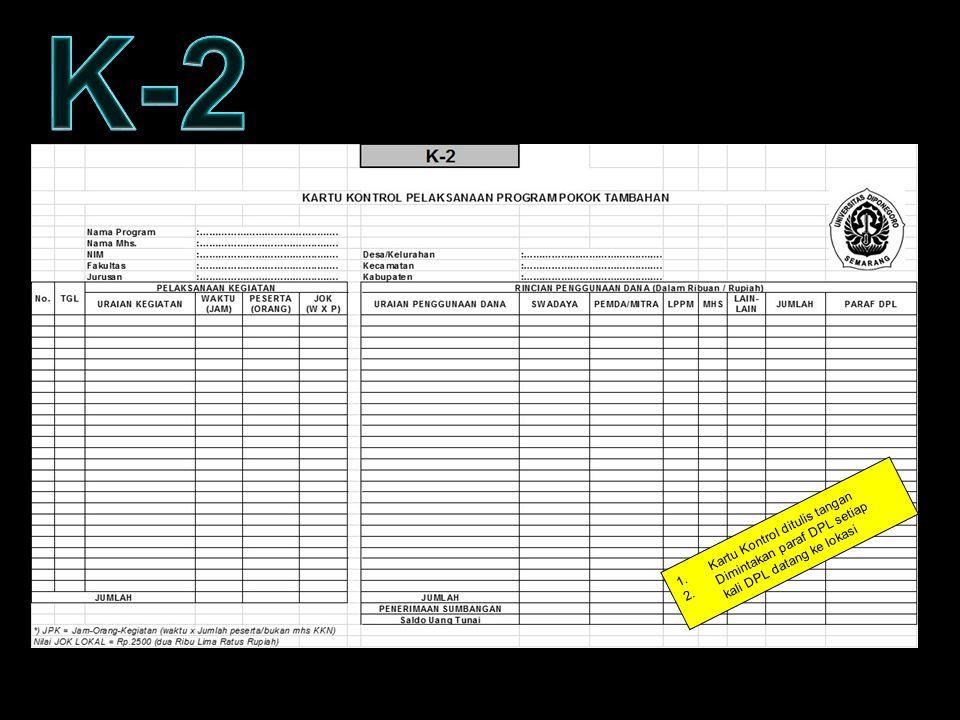 K-2 KARTU KONTROL – FORM K2 Kartu Kontrol ditulis tangan