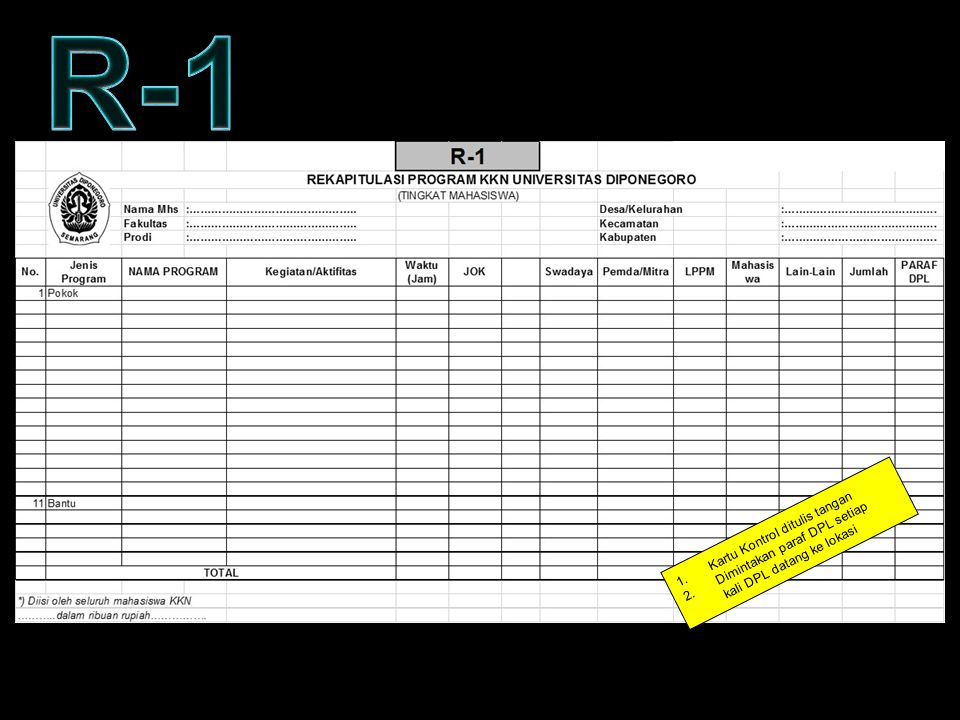 R-1 KARTU KONTROL – FORM R1 Kartu Kontrol ditulis tangan