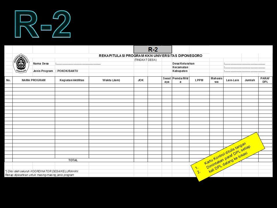 R-2 KARTU KONTROL – FORM R2 Kartu Kontrol ditulis tangan