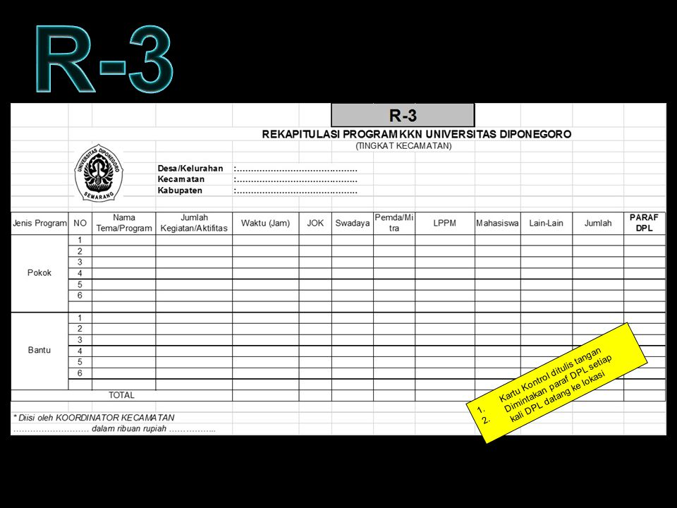 R-3 KARTU KONTROL – FORM R3 Kartu Kontrol ditulis tangan