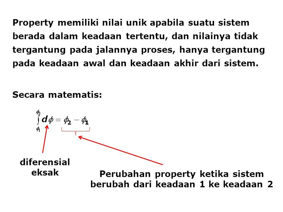 Perubahan property ketika sistem berubah dari keadaan 1 ke keadaan 2