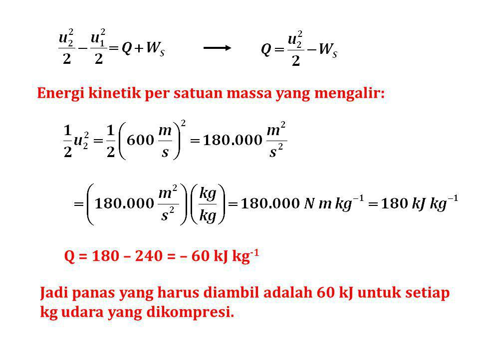 Energi kinetik per satuan massa yang mengalir: