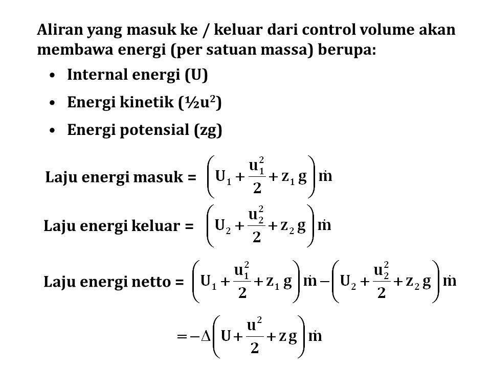 Aliran yang masuk ke / keluar dari control volume akan membawa energi (per satuan massa) berupa: