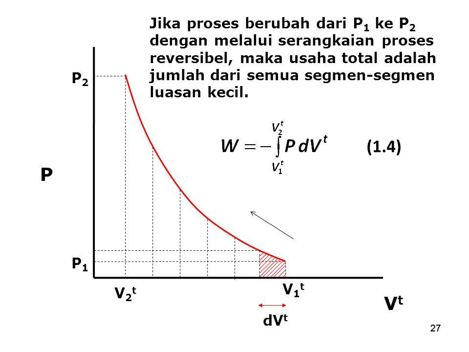 Jika proses berubah dari P1 ke P2 dengan melalui serangkaian proses reversibel, maka usaha total adalah jumlah dari semua segmen-segmen luasan kecil.