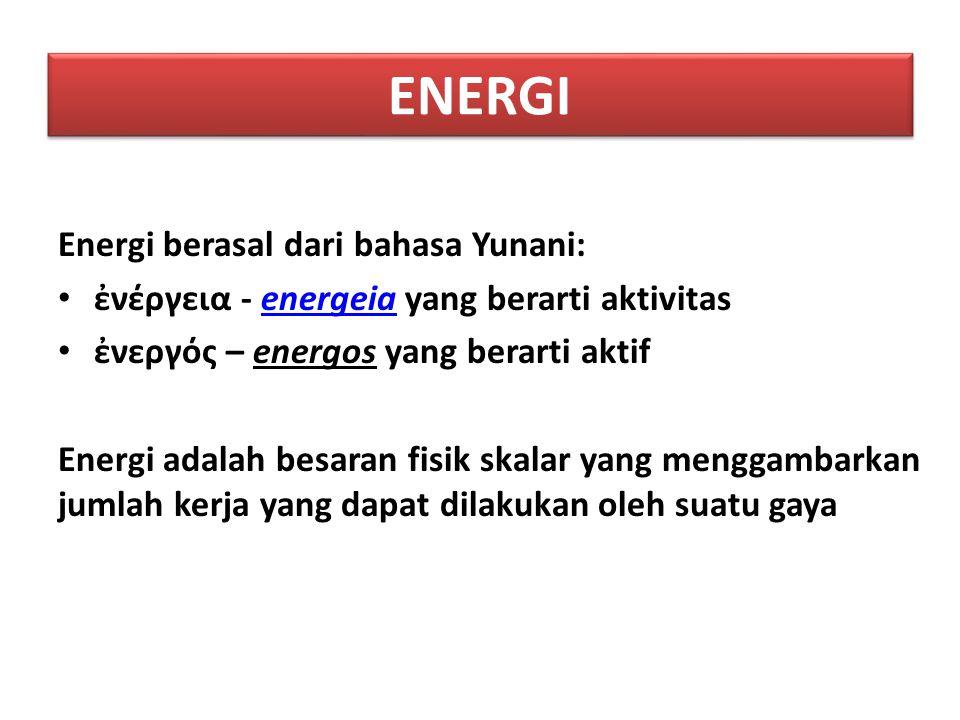 ENERGI Energi berasal dari bahasa Yunani: