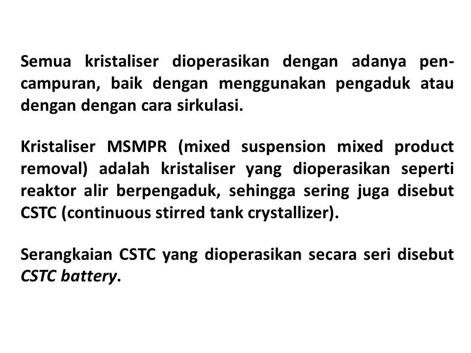 Semua kristaliser dioperasikan dengan adanya pen- campuran, baik dengan menggunakan pengaduk atau dengan dengan cara sirkulasi.