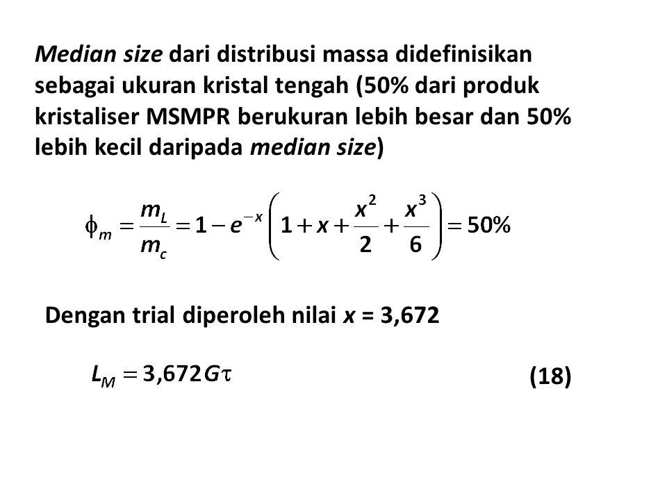 Median size dari distribusi massa didefinisikan sebagai ukuran kristal tengah (50% dari produk kristaliser MSMPR berukuran lebih besar dan 50% lebih kecil daripada median size)