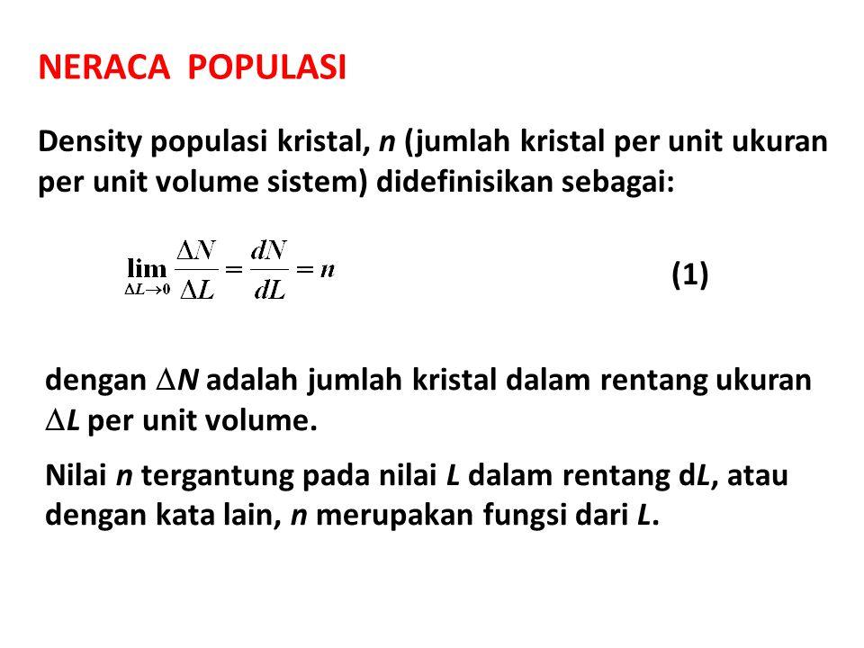 NERACA POPULASI Density populasi kristal, n (jumlah kristal per unit ukuran per unit volume sistem) didefinisikan sebagai: