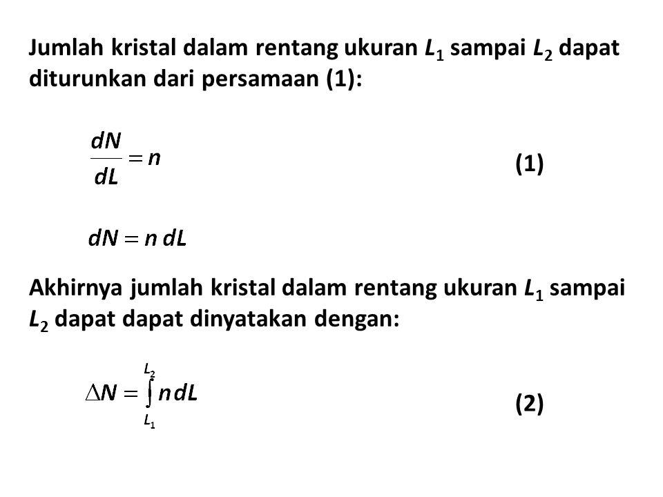 Jumlah kristal dalam rentang ukuran L1 sampai L2 dapat diturunkan dari persamaan (1):