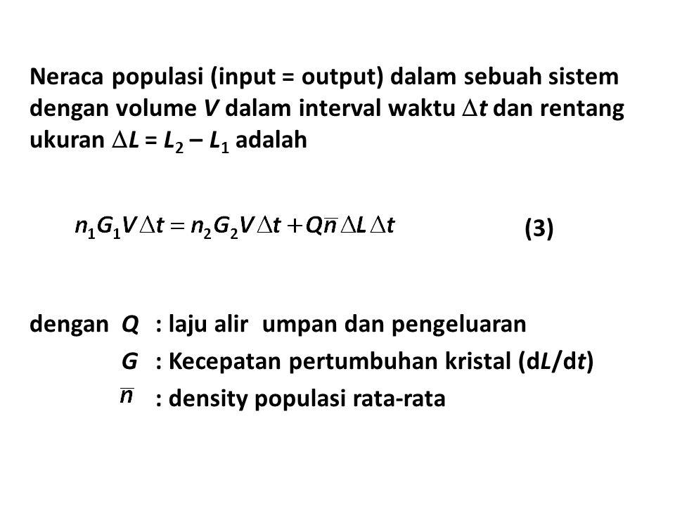 Neraca populasi (input = output) dalam sebuah sistem dengan volume V dalam interval waktu t dan rentang ukuran L = L2 – L1 adalah