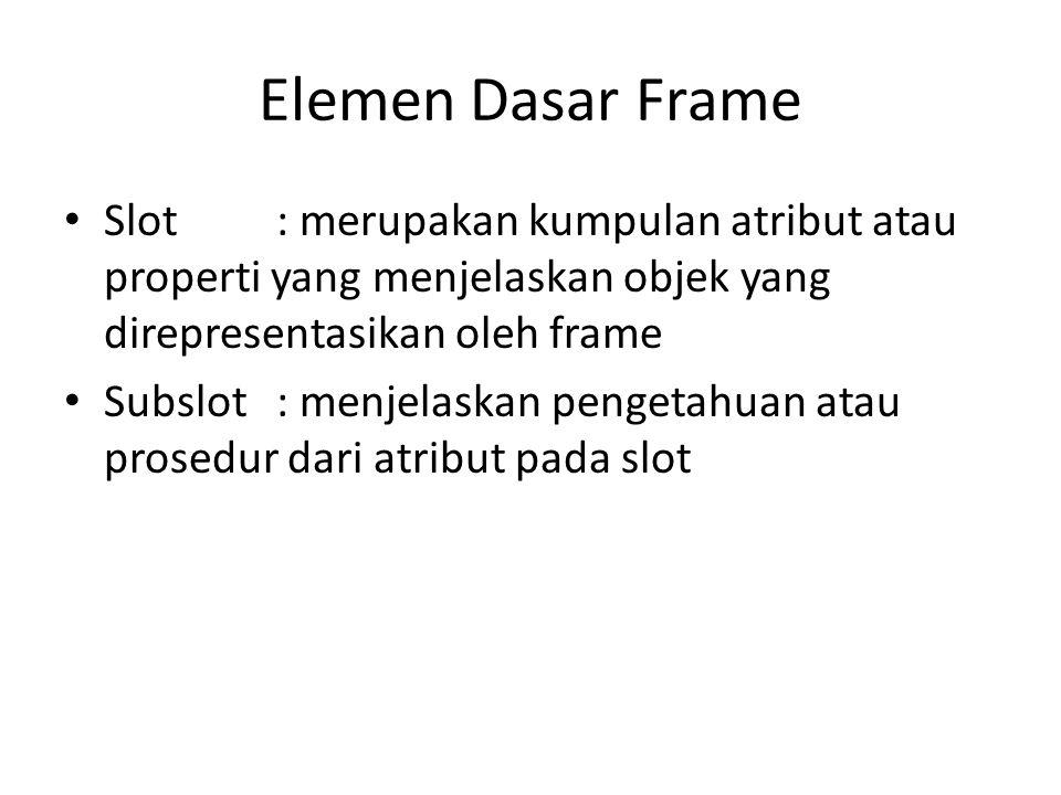 Elemen Dasar Frame Slot : merupakan kumpulan atribut atau properti yang menjelaskan objek yang direpresentasikan oleh frame.