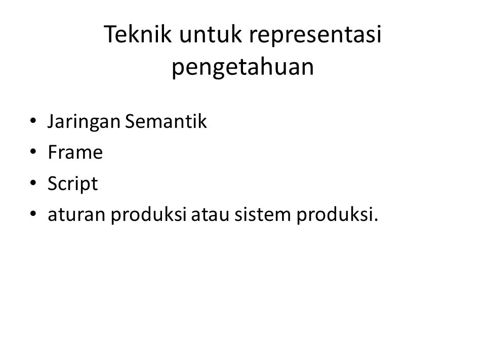 Teknik untuk representasi pengetahuan