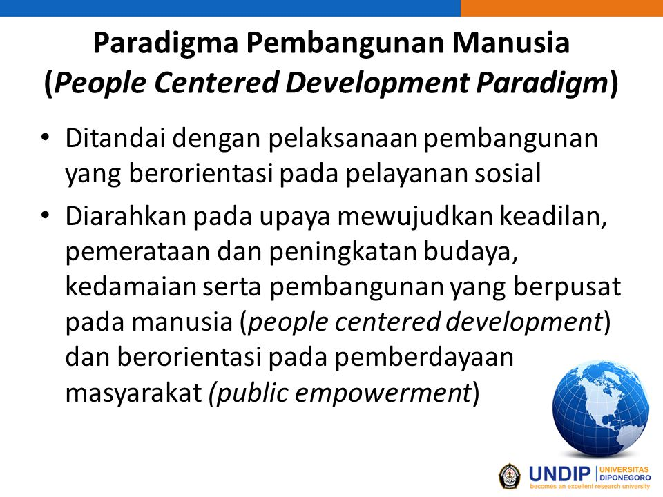 Paradigma Pembangunan Manusia (People Centered Development Paradigm)