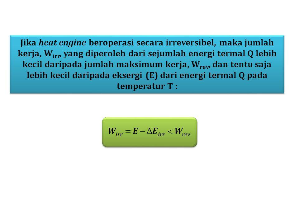 Jika heat engine beroperasi secara irreversibel, maka jumlah kerja, Wirr, yang diperoleh dari sejumlah energi termal Q lebih kecil daripada jumlah maksimum kerja, Wrev, dan tentu saja lebih kecil daripada eksergi (E) dari energi termal Q pada temperatur T :