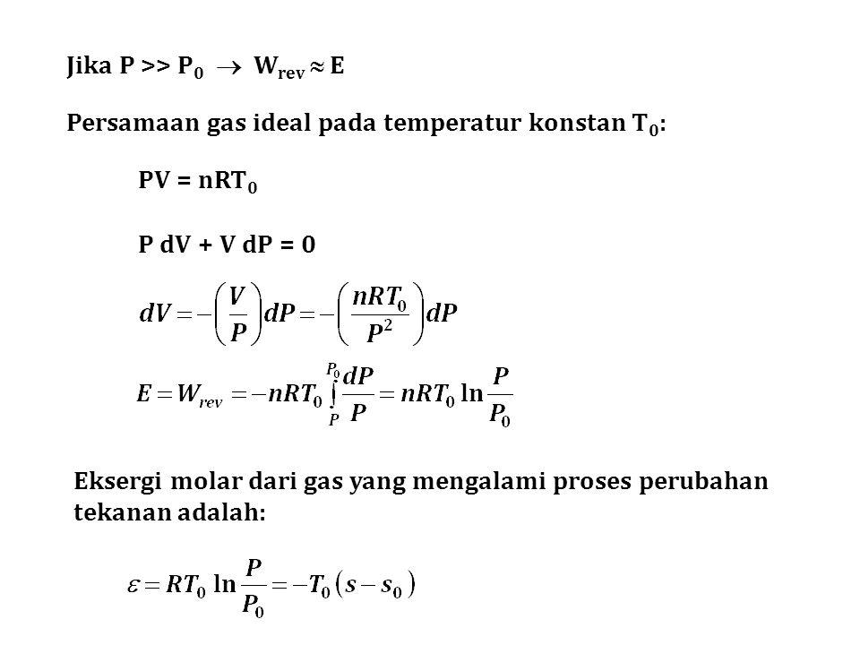 Jika P >> P0  Wrev  E