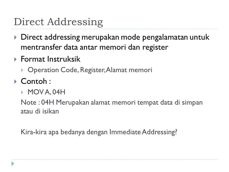 Direct Addressing Direct addressing merupakan mode pengalamatan untuk mentransfer data antar memori dan register.