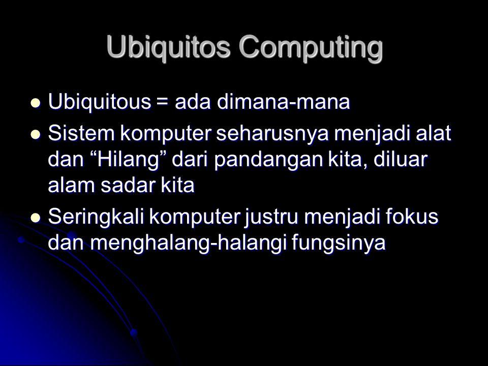 Ubiquitos Computing Ubiquitous = ada dimana-mana