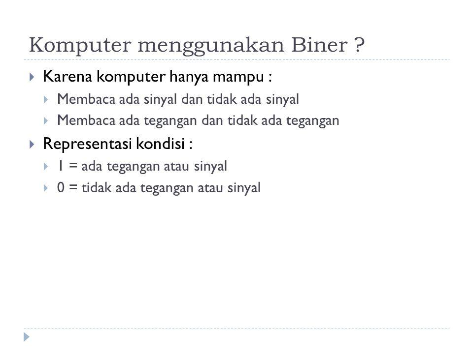 Komputer menggunakan Biner
