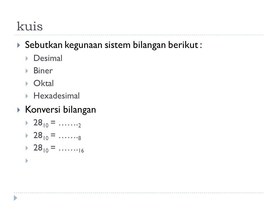 kuis Sebutkan kegunaan sistem bilangan berikut : Konversi bilangan