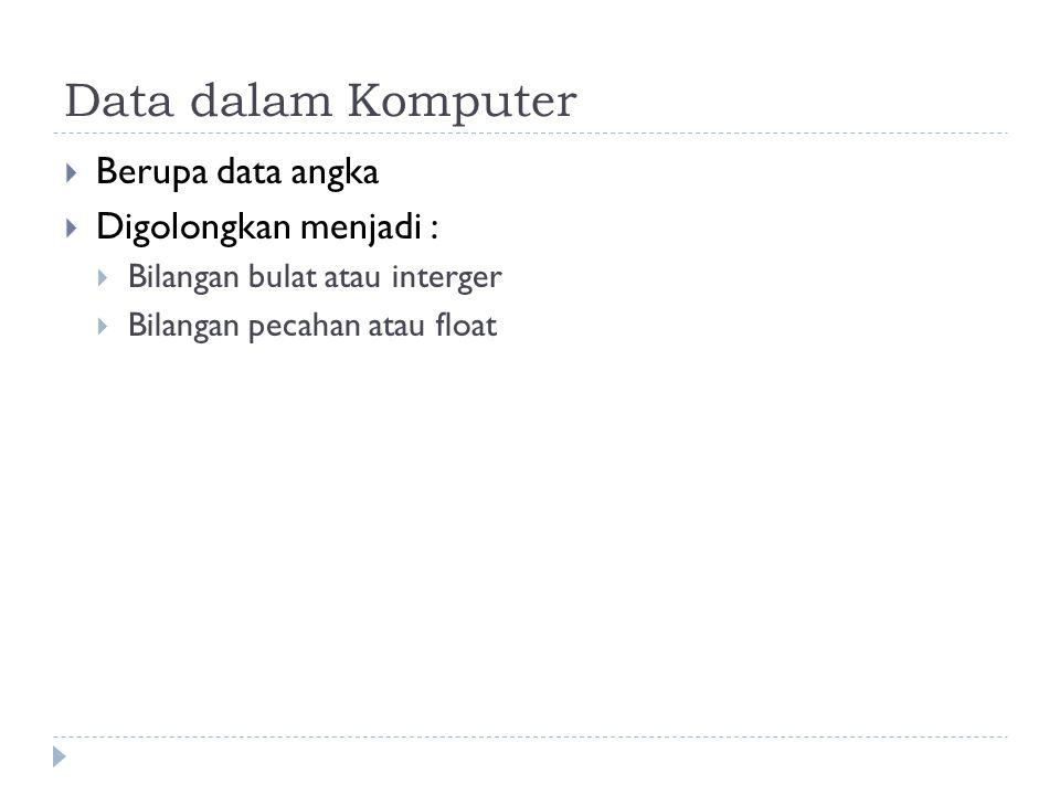 Data dalam Komputer Berupa data angka Digolongkan menjadi :