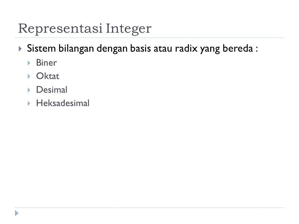 Representasi Integer Sistem bilangan dengan basis atau radix yang bereda : Biner. Oktat. Desimal.