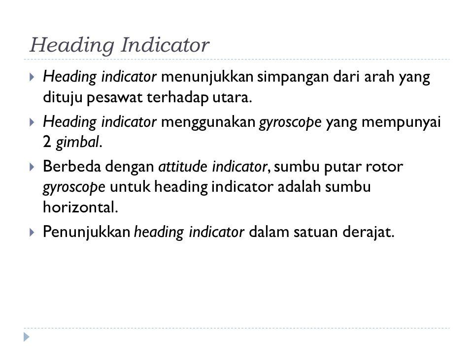 Heading Indicator Heading indicator menunjukkan simpangan dari arah yang dituju pesawat terhadap utara.
