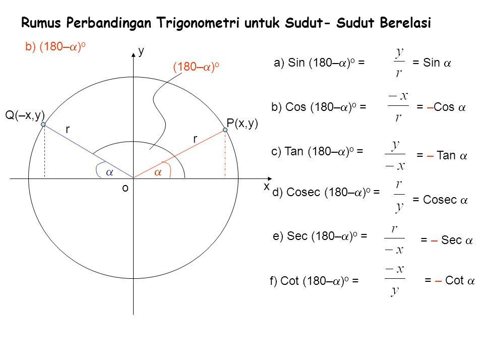 Rumus Perbandingan Trigonometri untuk Sudut- Sudut Berelasi