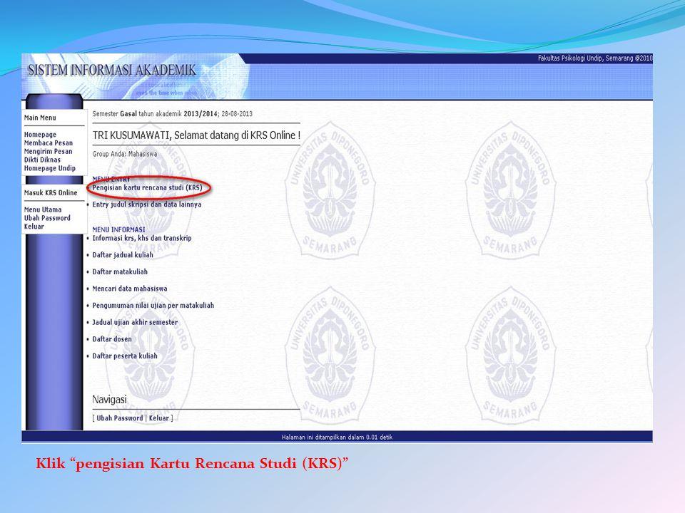 Klik pengisian Kartu Rencana Studi (KRS)