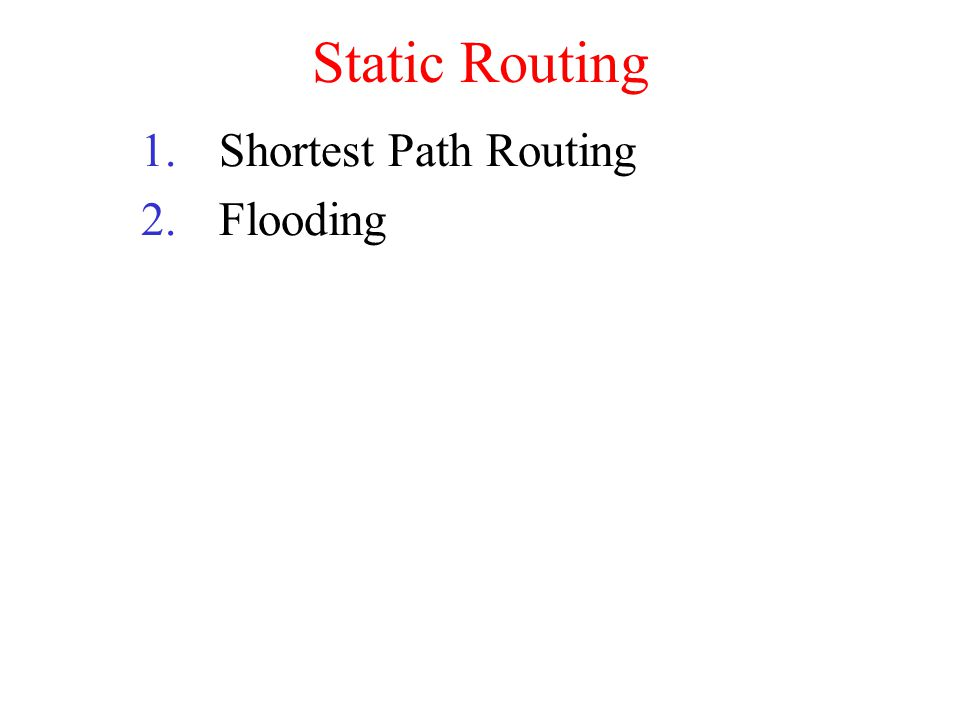 Static Routing Shortest Path Routing Flooding