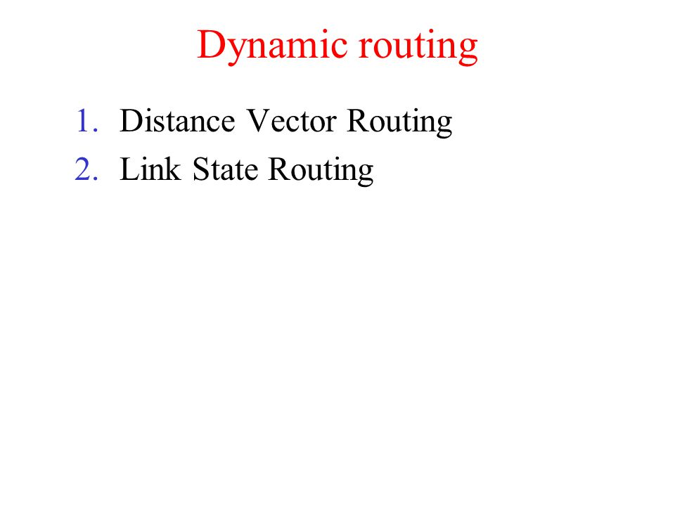 Dynamic routing Distance Vector Routing Link State Routing