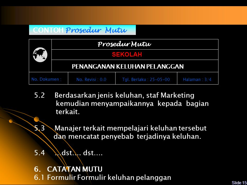 5.2 Berdasarkan jenis keluhan, staf Marketing