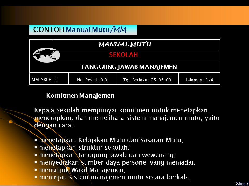 CONTOH Manual Mutu/MM MANUAL MUTU SEKOLAH TANGGUNG JAWAB MANAJEMEN
