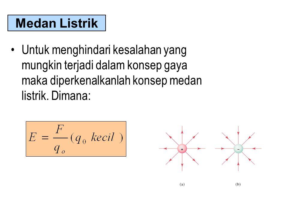Medan Listrik Untuk menghindari kesalahan yang mungkin terjadi dalam konsep gaya maka diperkenalkanlah konsep medan listrik.