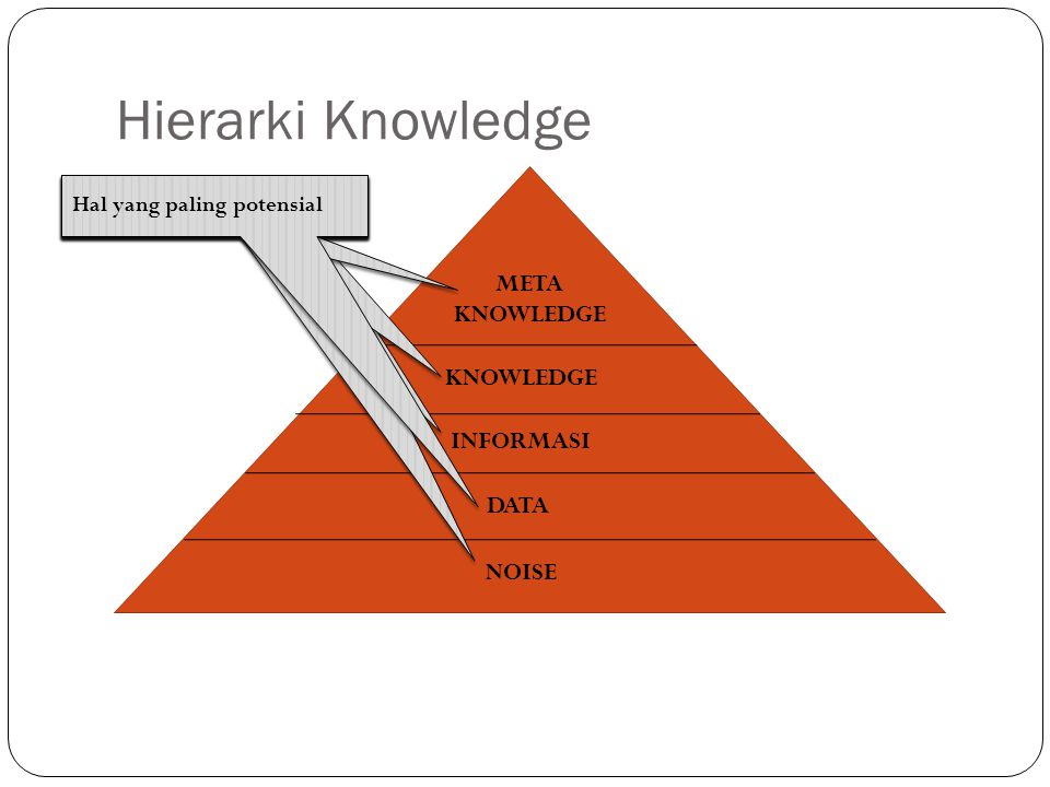 Hierarki Knowledge META KNOWLEDGE KNOWLEDGE INFORMASI DATA NOISE