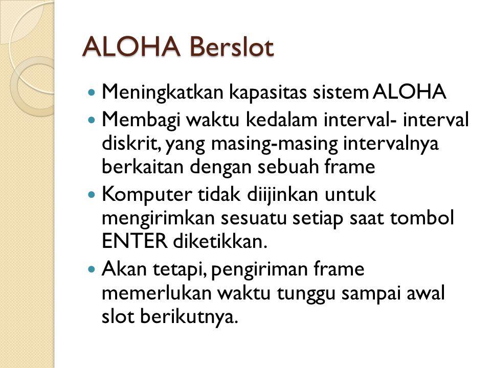 ALOHA Berslot Meningkatkan kapasitas sistem ALOHA