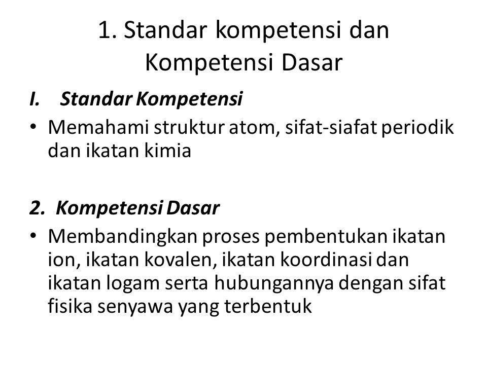 1. Standar kompetensi dan Kompetensi Dasar