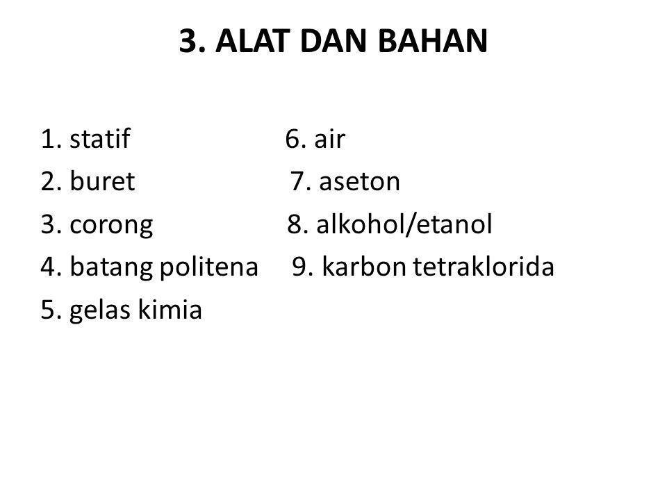 3. ALAT DAN BAHAN 1. statif 6. air 2. buret 7. aseton