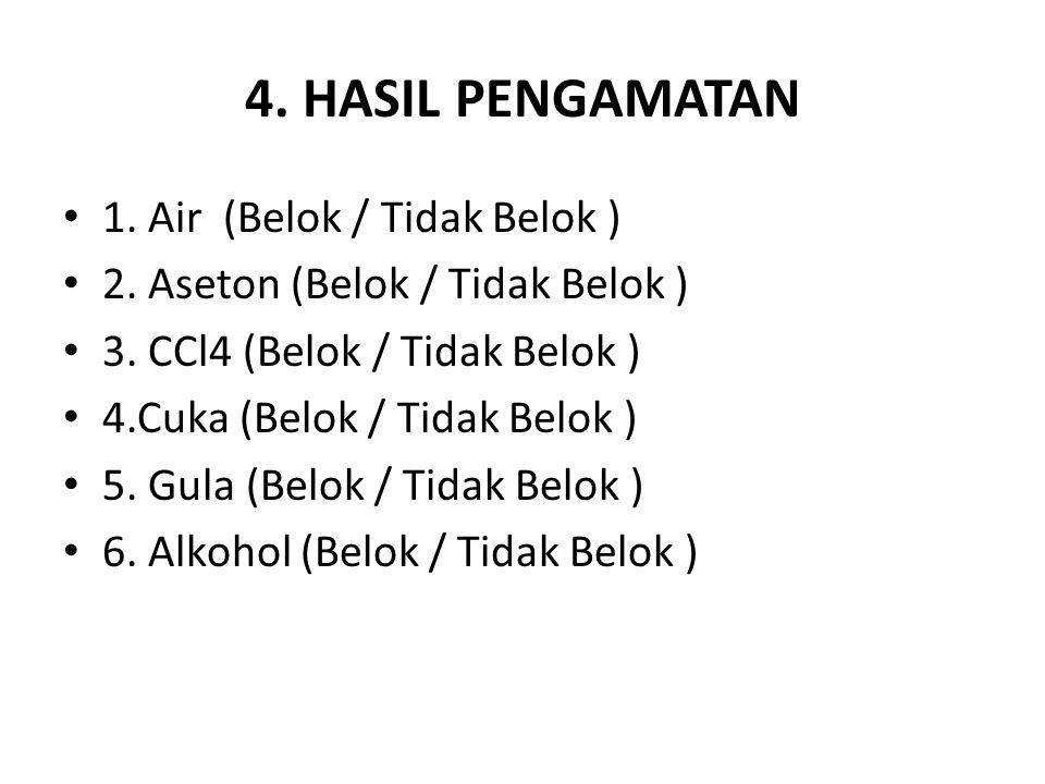 4. HASIL PENGAMATAN 1. Air (Belok / Tidak Belok )