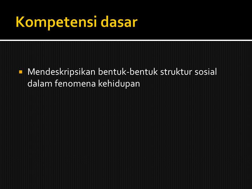 Kompetensi dasar Mendeskripsikan bentuk-bentuk struktur sosial dalam fenomena kehidupan