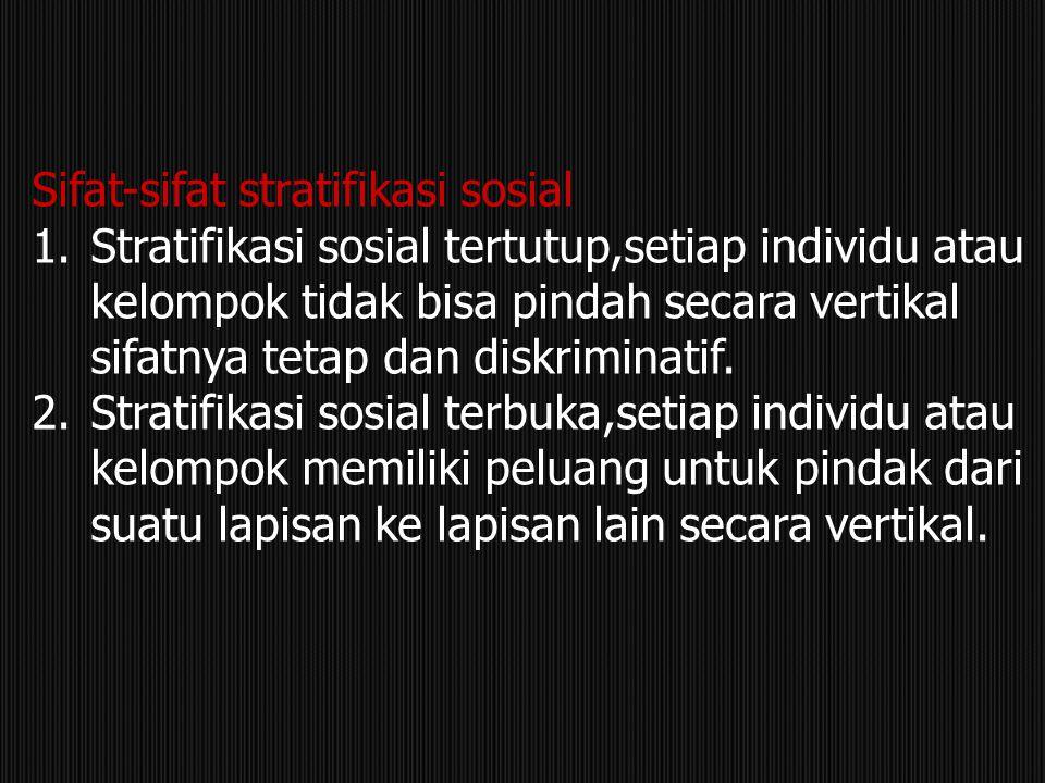 Sifat-sifat stratifikasi sosial