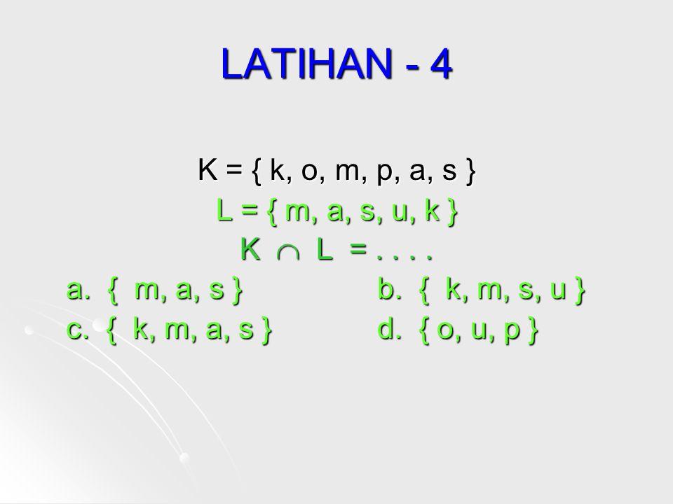 LATIHAN - 4 K = { k, o, m, p, a, s } L = { m, a, s, u, k }