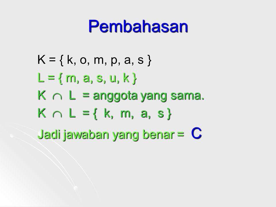 Pembahasan K = { k, o, m, p, a, s } L = { m, a, s, u, k }