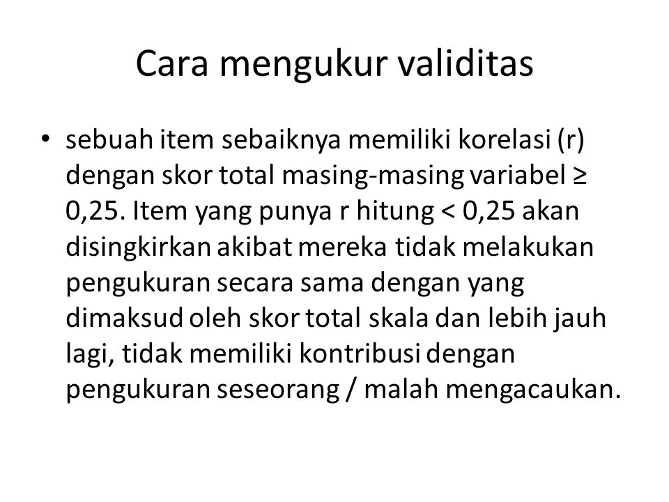 Cara mengukur validitas