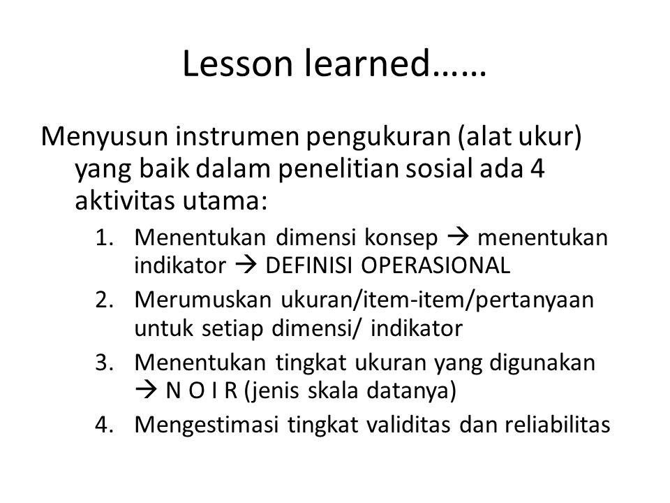 Lesson learned…… Menyusun instrumen pengukuran (alat ukur) yang baik dalam penelitian sosial ada 4 aktivitas utama: