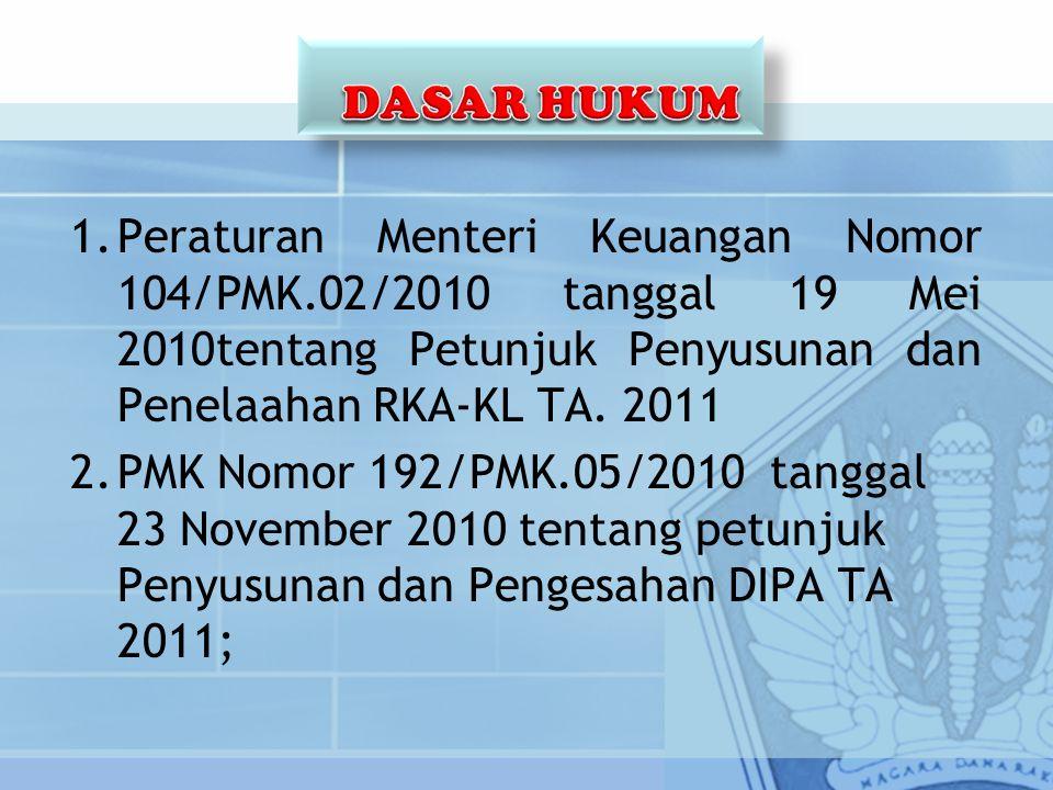 DASAR HUKUM Peraturan Menteri Keuangan Nomor 104/PMK.02/2010 tanggal 19 Mei 2010tentang Petunjuk Penyusunan dan Penelaahan RKA-KL TA. 2011.