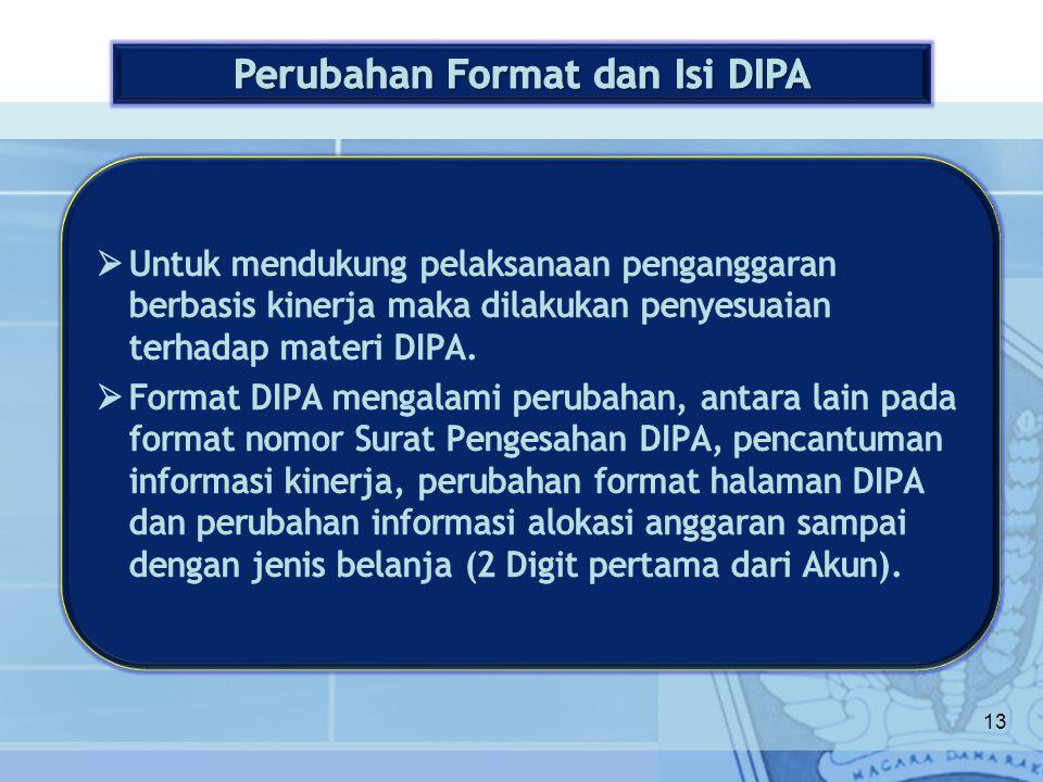 Perubahan Format dan Isi DIPA
